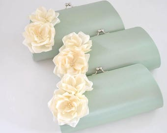 CELADON and IVORY - Wedding clutch - Bridal clutch/Bridesmaid clutch-Prom clutch- Custom clutch