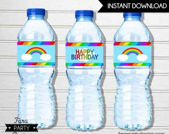 Rainbow Birthday Party Printable Water Bottle Labels by Fara Party Design | Rainbow Party | Bright Colorful Birthday