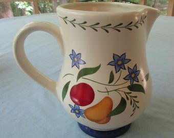 Claire Burke Ceramic Vintage Pitcher with Colorful Flower and Fruit Design - 24 Ounce Capacity - 6 Inches Tall -  Vintage - DK24N