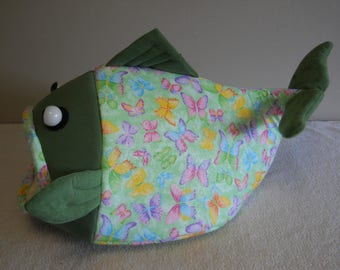 Fish Shaped Cat Bed Dog Bed Spring Butterflies Sparkling Green with Green Suede Head