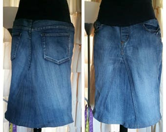 DELAROSA Custom to Your Size Maternity Jean Skirt knee length up to 26in length size S M L XL