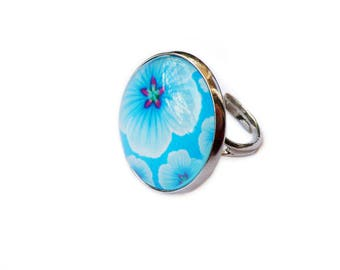 """Ring """"Flowers Pop"""" blue background, accessory, girl jewelry"""