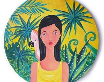 """Tableau original, peinture acrylique, Art, """"Lumière Tropicale"""" toile ronde, Cacatoès, jaune, vert, jardin exotique"""