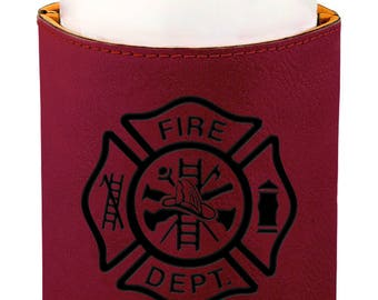 Leather Beverage Holder. - 10703 Fire Department