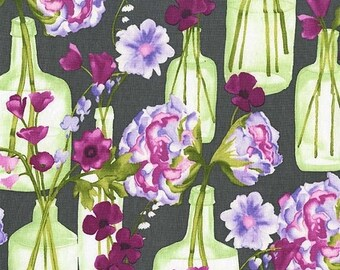 SALE 10% Off - Posie Bouquet in Charcoal (cj6662) - VIGNETTE by Laura Gunn - Michael Miller Fabrics - By the Yard