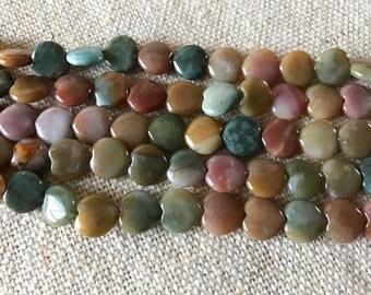 """Fancy Jasper or Bloodstone Beads 12x12mm, 8"""" strand"""