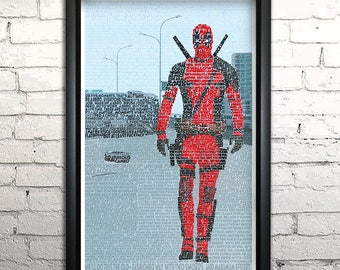 "Deadpool word art print -11x17"" Framed"