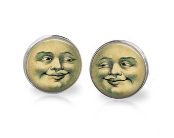 Man in the Moon Earrings Full Moon Astronomy Art Hypoallergenic Surgical Steel Studs