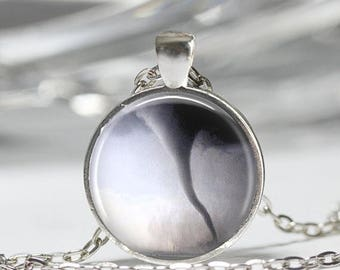 ON SALE Tornado Necklace Twister Storm Chaser Wizard of Oz Art Pendant in Bronze or Silver with Link Chain Included