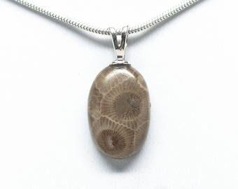 Petoskey Stone Oval Pendant