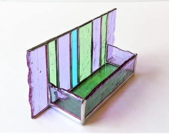 Contemporary Stained Glass Business Card Holder Modern Office Decor Art Glass Lavender Peridot Green Turquoise Blue Desk Accessory Handmade