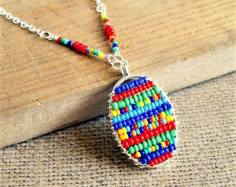 colorful beaded pendant, boho jewelry, rainbow pendant, gift for her, statement jewelry, under 20
