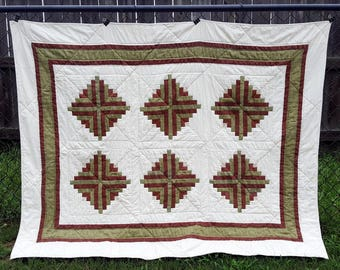 Quilted Throw or Lap Quilt Twin Topper, Log Cabin Pattern in Country Earth Tones of Sage and Brown, use as a Ladder Hanging, Cabin Living