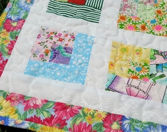 Patchwork Mini Quilt in Bright Spring Colors, Handmade Quilted Mat or Topper