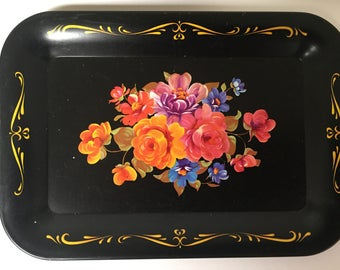 Vintage Mini Metal Trays with Tole Painted Flowers