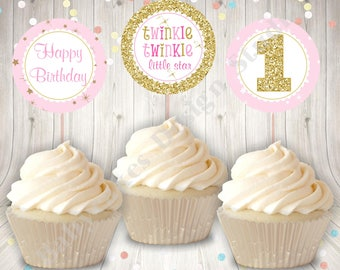 Twinkle Twinkle Little Star Cupcake Toppers Instant Download 1st Birthday Party Printable Pink and Gold