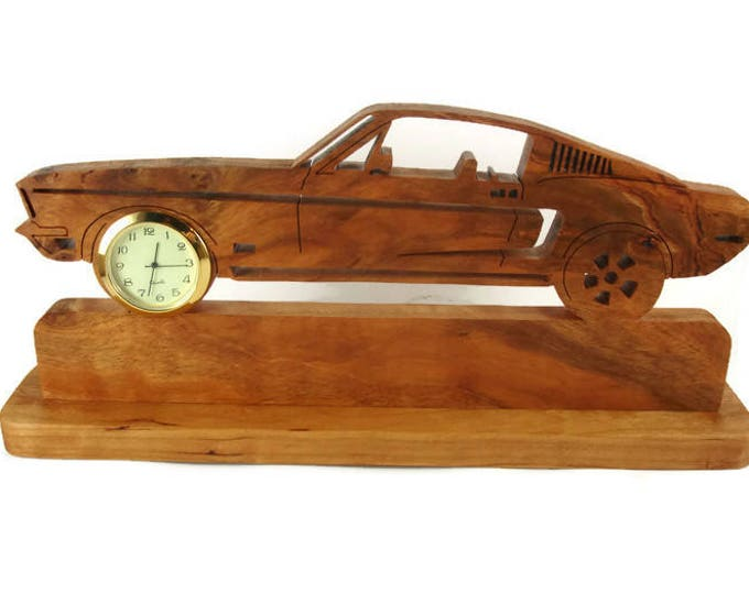 Vintage Style Ford Mustang Desk Or Shelf Clock Handmade From Cherry Wood By KevsKrafts