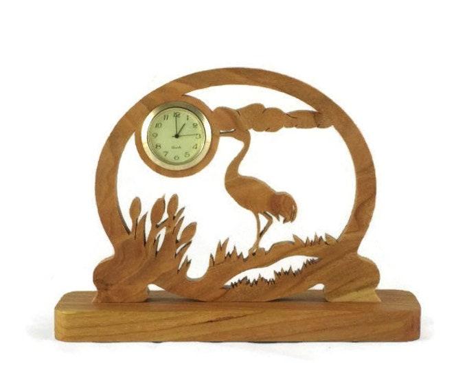 Sandhill Crane Scene Mini Desk Clock Handmade From Cherry Wood