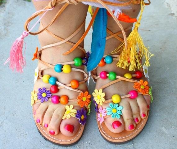 Boho sandals/Greek sandals /Boho sandals/Handmade greek sandals decorated sandals sandales a lacets nu-pieds