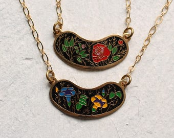 Enamel Folk Necklace ... Vintage Flower Red Yellow Black Enamel Gold 1970s