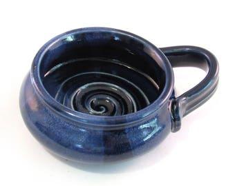 Shaving Mug - Ridges for Good Soap Lather - Comfort Shave - Handmade Pottery - Dark Cobalt Blue - Blue Shave Mug - Pottersong Pottery