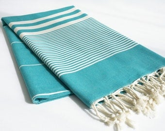 NEW / SALE 50 OFF/ Turkish Beach Bath Towel / Classic Peshtemal / Turquoise / Wedding Gift, Spa, Swim, Pool Towels and Pareo