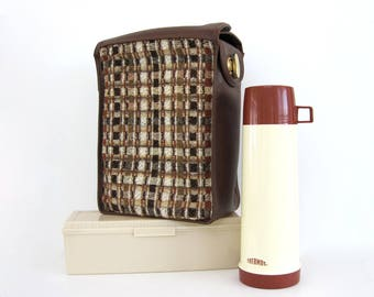 Vintage Picnic Bag Basket Thermos Lunch Box Work Bags Waterproof Insulated Food Carrier Festival Beach Sandwich Container Carpet Brown Plaid