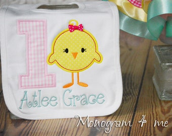 Farm Birthday Bib, 1st Birthday, First Birthday, Little Chick bib, Personalized, Chicken