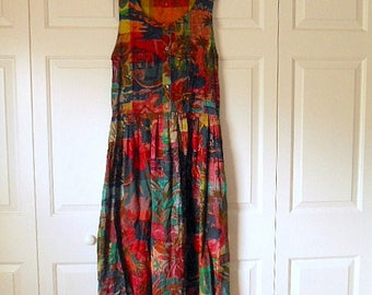 Vintage 90's cotton India muted colors Sun Dress