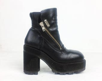 90's Destroy Industrial Destroy Chunky Platform Black Leather Lace Up Boots // 9