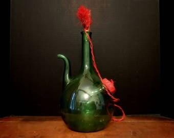 Vintage / Italian Green Demijohn / Decanter Ice Chamber / Green Dame Jean