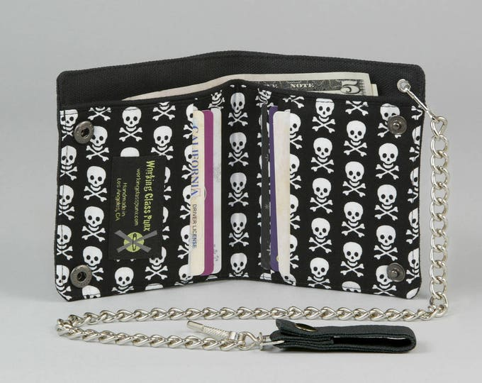 Skull and Crossbones Vegan Chain Wallet, Black and White, Black Canvas Wallet, Pirate Punk, Goth, Small Skulls