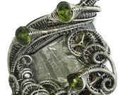 Muonionalusta Meteorite Slice Wire-Wrapped Steampunk Pendant in Antiqued Sterling Silver with Peridot