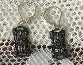 Sterling 1920s Marcasite Earrings -Lever Back Dangles
