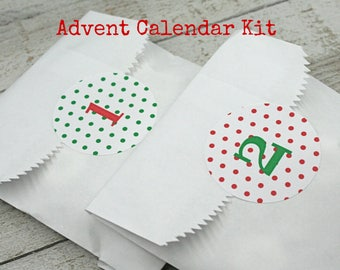 Advent calendar kit, Christmas countdown stickers and favor bags, green and red polka dots, advent calendar, kids advent activity