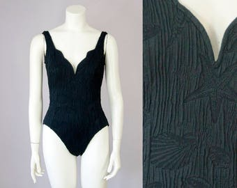 80s 90s Vintage Catalina Black Sea Life Low-Cut One-Piece Swimsuit (S)