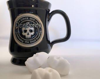 Valentine Gift // Skull Coffee Mug for Skull Fanatics // Skull Tea Mug // DemBones Black Skull Mug // Skull Gift // Goth Valentine Gift //
