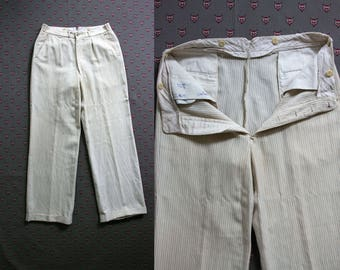 Vintage 1920's Era Pinstriped Button Fly Cream Colored Wool Pants, Knickers, Unisex Adults, 33 x 32
