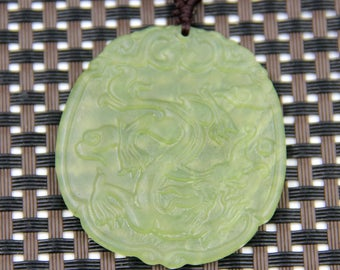 Light Green Stone Pendant Carved Mythical Celestial Dragon Amulet Talisman Bead For Jewelry 45mm x 42mm  T0410
