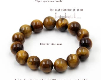 14mm Genuine Big Tiger Eye Gem Prayer Beads Tibetan Mediation Yoga Bracelet  T2618