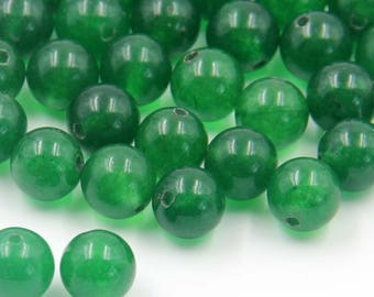 8mm 180Pcs Green Jade Gem Beads Loose Finding For Handwork-- ja2019