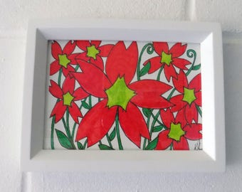 Flowers Ink Drawing. Red and Dark Green Abstract Floral Drawing