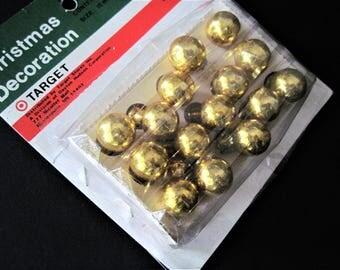 Tiny Gold Ornaments, Mini Gold Ornaments, Tiny Gold Tree Decor, Vintage Mini Balls, Gold Ornaments, Vintage Ornaments, Tiny Gold Decor Balls