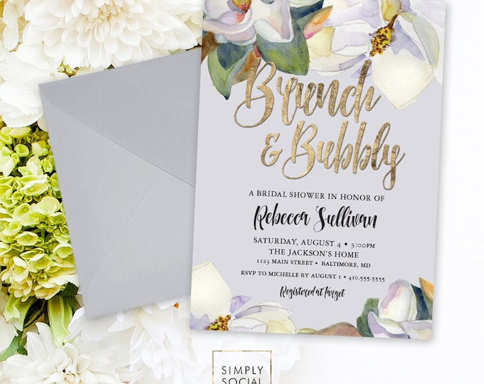 Brunch and Bubbly Bridal Shower Invitation - White Magnolia and Faux Gold Foil Watercolor Floral Boho Shower Invitation Printable