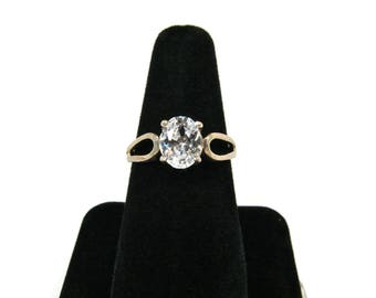 NF Sterling Silver Ring Vintage 925 Solitaire White Stone Ring Size 7