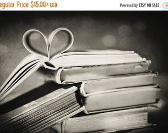 Black and White Photography: Vintage book love Fine Art Photography pages folded in heart shape friendship art print Still Life Books