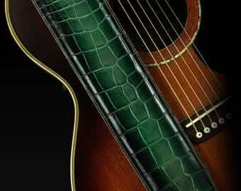 Leather Guitar Strap, Padded Guitar Strap, Custom Guitar Strap: Sylvus-Green Dragon Guitar Strap