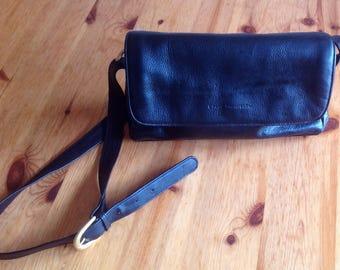 Stone Mountain black leather shoulder bag medium cross body