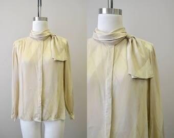 1980s Tahari Beige Silk Blouse