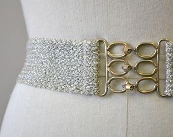 1970s Silver Braided Elastic Belt